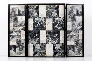 Collage #87,2015.(Dorso).Retablo, collage,papel, hilo, bisagras. 60 x 89 cm (abierto).
