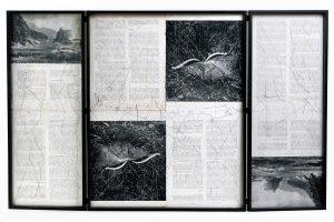 Collage #95,2016.(Dorso).Retablo, collage,papel, hilo, bisagras. 62,8 x 100 cm (abierto).