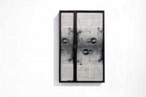 Collage #79, 2014. (Dorso). Retablo, collage, papel, hilo, bisagras. 64 x 40 cm (cerrado).