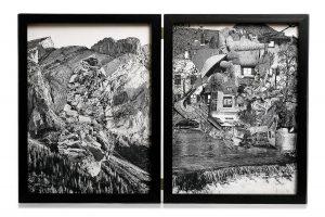 Collage #89-#98, 2016. (Frente). Díptico, collage, papel, hilo, bisagras.29,5 x 22,5 cm c/u.