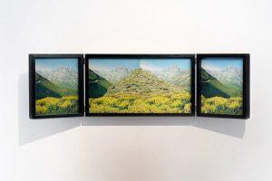 Collage #77, 2014. (Frente). Retablo, collage, papel, hilo, bisagras. 26 x 91,5 cm (abierto).