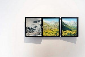 Collage #77, 2014. (Entreabierto). Retablo, collage, papel, hilo, bisagras.