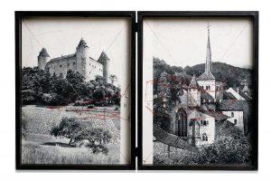 Collage #97, 2016. (Dorso). Díptico, collage, papel, hilo, bisagras. 29,5 x 22,5 cm c/u.