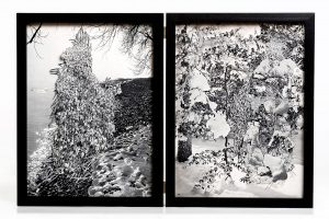 Collage #99-#100, 2016. (Frente). Díptico, collage, papel, hilo, bisagras.29,5 x 22,5  cm c/u.