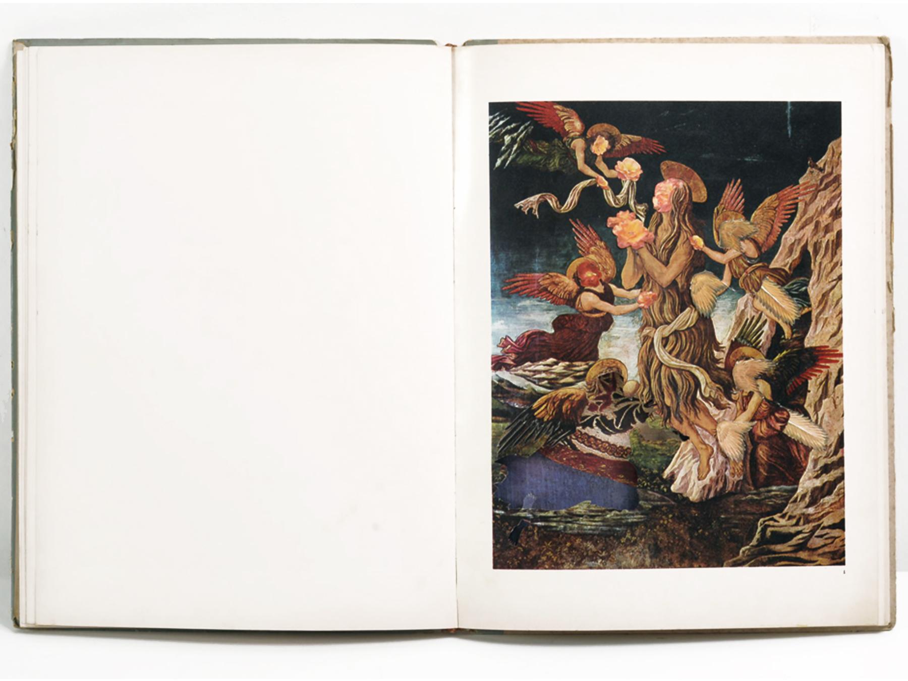 Collage #47, 2011. (Frente, libro abierto). Collage, papel, hilo. 35 x 25 cm