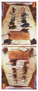 Collage #62, 2014. (Frente). Díptico, collage, papel, hilo, bisagras. 55 x 23 cm (abierto).