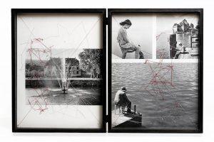 Collage #99-#100, 2016. (Dorso). Díptico, collage, papel, hilo, bisagras.29,5 x 22,5  cm c/u.