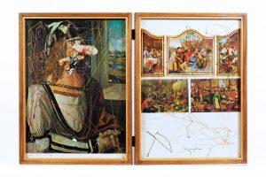 Collage #81, 2014. (Dorso). Díptico, collage, papel, hilo, bisagras. 37,5 x 56 cm (abierto).