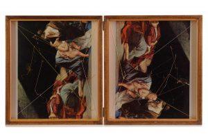 Collage #84, 2014. (Dorso). Díptico, collage, papel, hilo, bisagras. 29,5 x 53 cm (abierto).