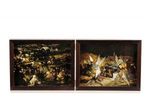 Collage #63, 2014. (Frente). Díptico, collage, papel, hilo, bisagras. 20,5 x 52 cm (abierto).
