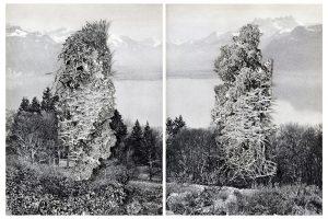 Collage #93-#94, 2015. (Frente). Díptico, collage, papel, hilo. 27,5 x 21 cm c/u.