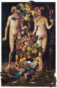 Collage#53, 2012. (Frente). Collage, papel, hilo. 56 x 38 cm.