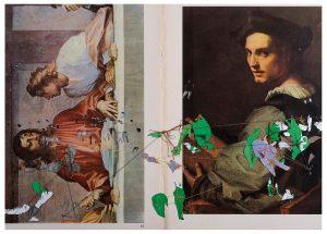 Collage#56, 2012. (Dorso). Collage, papel, hilo. 37 x 55 cm.
